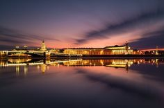 Neva embankment at night, st petersburg, russia Cultural Capital, Capital City, St Petersburg Russia, Saint Petersburg, Back In The Ussr, City Landscape, To Go, Building, Places