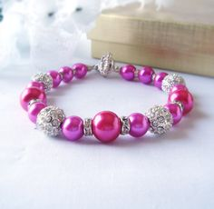 Fushia and Hot Pink Pearl and Crystal Bracelet with Focal Alloy Rhinestone Ball Bead-choice with Earrings