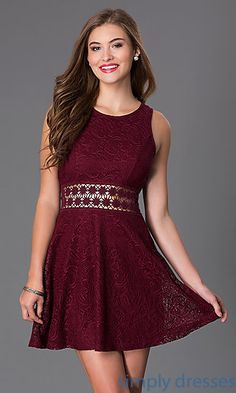 Short Sleeveless Scoop Neck Lace Dress at SimplyDresses.com
