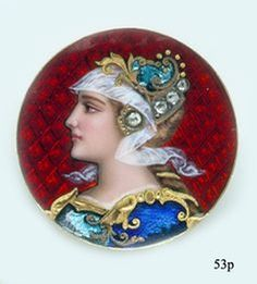 Limoges Enamel, Rose-cut Diamond and Gold Brooch by A. Golay, Leresche
