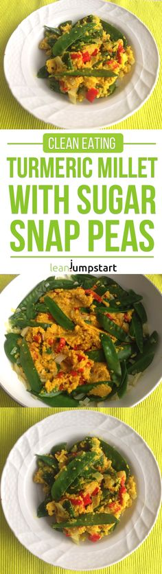 Turmeric millet and sugar snaps: a creamy clean eating meal for health via @leanjumpstart