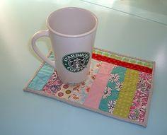 Scrappy Strippy Mug Rug ~ I have never seen a mug rug but they are so cute!! Added Bonus: Starbucks mug in the pic. ;-)