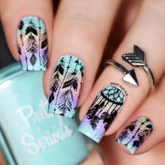 A dream catcher originated from the American Indians culture. Today these accessories can be of various shapes and styles, and we can see it everywhere, starting with home decor and ending with nail art. Let's explore pretty nail designs with this accessory and learn more interesting facts about it. #dreamcatcher #dreamcatchernailart #nailsdesign