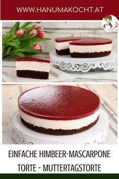 Einfache Himbeer-Mascarpone Torte - Muttertagstorte It's not difficult to surprise Mama - at least if you prepare this cake. Day cake mascarpone ca Torte Au Chocolat, Mascarpone Cake, Red Wine Gravy, Mothers Day Cake, Best Pie, Flaky Pastry, Mince Pies, Easy Cake Recipes, Food Cakes