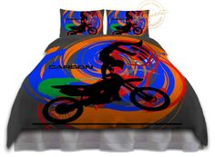 Dirt Bike Comforter Set - Motocross, Grey, Orange, Blue - Dirt Bike Comforter…