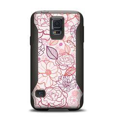 The Subtle Pink Floral Illustration Samsung Galaxy S5 Otterbox Commuter Case Skin Set