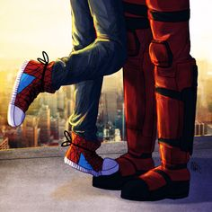Marvel Universe - Wade Wilson x Peter Parker - Deadpool x Spiderman - Spideypool Deadpool X Spiderman, Marvel Comic Universe, Comics Universe, Marvel Dc Comics, Marvel Cinematic Universe, Spideypool, Superfamily, Ralph Mcquarrie, Star Wars Clone Wars