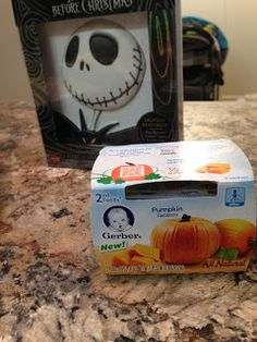The Nightmare Before Christmas Dinner: Pumpkin Puree for Baby to join in on theme dinner fun!