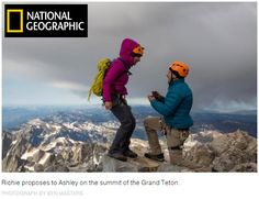 There's a diamond-flanked sapphire ring on top of the Grand Teton. You'll get $500 and good karma for life if you find it and tell me or Richie....   A Mountaintop Proposal Doesn't Go As Planned. http://www.nationalgeographic.com/adventure/activities/hiking-and-backpacking/grand-teton-proposal/  National Geographic Magazine Grand Teton National Park
