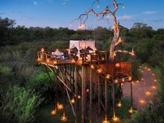 Lion Sands, South Africa  Lion Sands is a one-of-a-kind hotel located in the Sabi Sand Game Reserve, and offers three superb lodges, each with its own distinct character. The stand-out seems to be the 2 person Chalkley Treehouse: a lavish room set within the branches of an ancient tree overlooking the plains. Here you can enjoy a romantic meal before bedding down for the night in your four-poster bed beneath a blanket of stars.