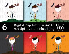 Girl Clip Art, Girl Clipart,  Instant Download,  Digital Girl Clipart, Little Girl Clip Art, - pinned by pin4etsy.com