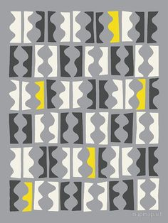 """DANCERS, grey, gray, yellow"" by Paul Allitt for mapmapart 