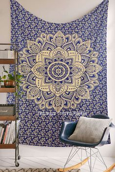Blue  Gold Small Geometric Medallion Mandala Tapestry on RoyalFurnish.com, $17.99