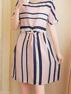 Product Name:Round Neck Drawstring Striped Skater DressCollar&neckline:Round NeckSleeve:Short SleeveLength:Thigh-lengthHow To Wash:Hand Wash OnlyDress Silhouette:FlaredBrand Name:WithChicStyle:CasualMaterial:PolyesterEm Simple Dresses, Pretty Dresses, Casual Dresses, Short Dresses, Girls Dresses, Skater Dresses, Girls Fashion Clothes, Fashion Dresses, Casual Frocks