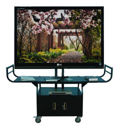 """TV Cart with Storage Fits Monitors 60"""" to 84"""" Camera Shelf"""