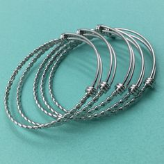 10pcs BRAIDED TWISTED Stainless Steel Adjustable Wire Bangle