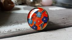 Items similar to Round statement ring, japanese kimono style, with blue and light blue flowers in orange background on Etsy Light Blue Flowers, Orange Background, Kimono Style, Japanese Kimono, Kimono Fashion, Statement Rings, Resin, Rings For Men, Turquoise