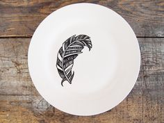 Feather Dinner Plate  Hand Drawn Black and White by Gx2homegrown, £15.00