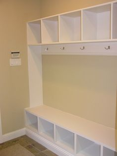 Mud room, use side ways book case for bench.