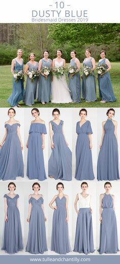 tulle and chantilly real wedding dusty blue bridesmaid dresses styles 2019 Beach Style Wedding Dresses, Civil Wedding Dresses, Wedding Dresses Photos, Colored Wedding Dresses, Dress Wedding, Wedding Bells, Dusty Blue Bridesmaid Dresses, Bridesmaid Ideas, Traditional Wedding Dresses