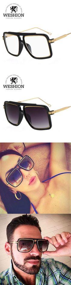 WESHION Star Style Square Men Sunglasses HD Lens Alloy Frame Fashion Cool Eyewear Retro Women Summer Shades Oculos With Cloth
