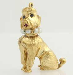 Poodle Dog Pendant - 14k Yellow Gold Genuine Ruby & Sapphire Pearl .12ctw p5655..