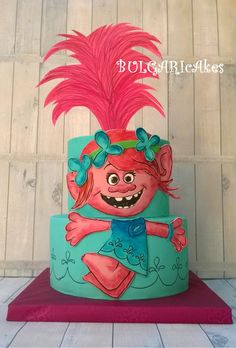 Hello again! :) This one was for my elther daughter- our Poppy…:) My Little Pony Birthday Party, Trolls Birthday Party, Troll Party, 2nd Birthday, Birthday Ideas, Birthday Parties, Bolo Trolls, Trolls Cakes, Princess Poppy Birthday Cake
