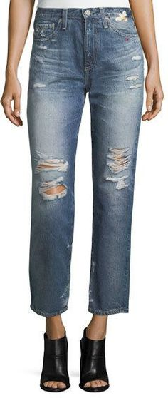 AG Jeans Phoebe Distressed High-Rise Straight-Leg Jeans