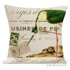 Pillow Cover French Style Bird Beach Nautical Cottage Summer Decor Burlap Cotton Throw Pillow NA-49