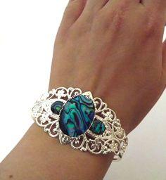 Abalone shell Victorian cuff bracelet