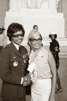 Josephine Baker Aided the French and Received Medal of Honor.- Shown in uniform with Lena Horne at March in Washington,1963.