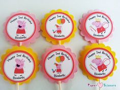 Personalized Peppa Pig Cupcake Toppers by PaperHeartsScissors