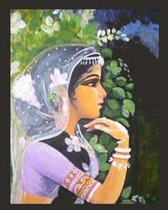 """Archival art print. 8x10"""" Indian art, from acrylic painting. on the night of full autumnal moon, beautiful girl, goddess, on Etsy, $20.00"""