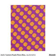 Jack o' Lantern Purple Fleece Blanket