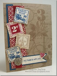 This fabulous Postage Due card by LeAnne has a lot of class! She also used French Foliage, Artistic Etchings, Festival of Prints dsp, & more.