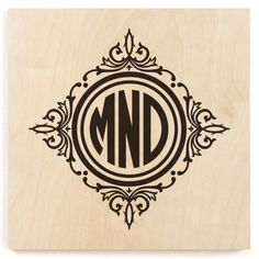 Circle Framed Monogram Wood Print