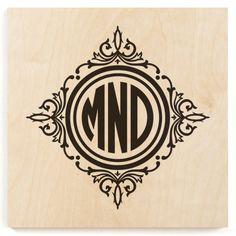 Circle Framed Monogram Wood Print