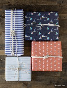 Download and print our newest gift wrap set, our adorable nautical wrapping paper perfect for gifts for Father's Day, sailors, and beach lovers!