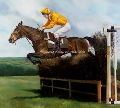 over the last, cilwendeg, point to point horse racing art print by lisa miller