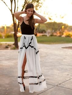 maxi skirt with a slit. So beautiful and airy. Perfect for a night at Lago!