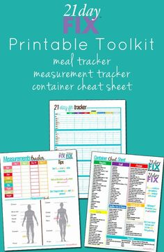 21 Day Fix Printable Tools: measurement tracker, meal planner, and container cheat sheet