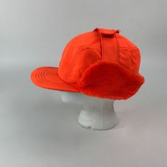 Vintage Hunting Baseball Hat Blaze Orange Ear Flaps Thinsulate Size XL Made  USA ba2597945a9d