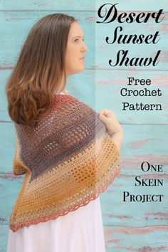Desert Sunset shawl is a free crochet pattern that is the intermediate crocheter. It uses very few stitches and all special stitches are explained. This is a fun project that creates a unique design. This project only take one skein of Lion Brand Mandala yarn. #crochet #freepattern #unique