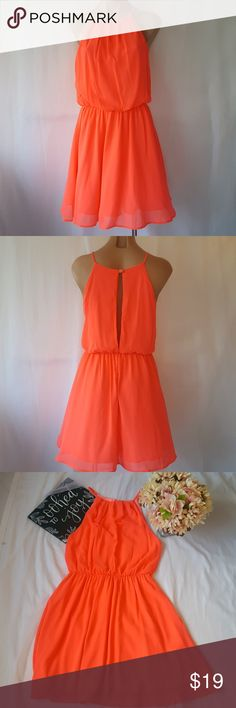 Orange dress with open back sz med This is a fun and gorgeous orange dress with open keyhole back. Soft and flowing, it is so simple yet elegant!  Flat lay measurements are on the photos.  Thank you for checking this out. Please do not forget to look up my other listings in the closet too. Happy Poshing!!! WINDSOR Dresses