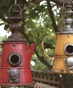 Another great find on #zulily! Red & Yellow Coffee Pot Birdhouses - Set of Two #zulilyfinds