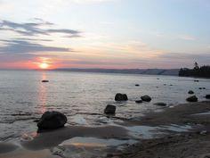 Sunrise: looking back toward Grand Marais (at Pictured Rocks National Lakeshore) Grand Marais Michigan, Pictured Rocks National Lakeshore, Sunrise Pictures, Picture Rocks, State Of Michigan, Back In Time, Heaven On Earth, Oceans, Looking Back