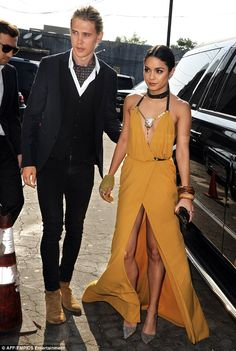 All gold everything: The Gigi star, alongside beau Austin Butler, wore a stunning backless...