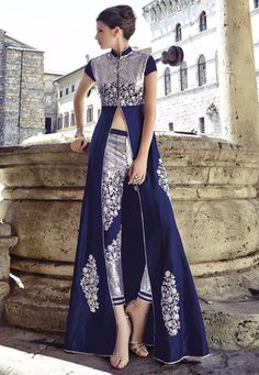 #Blue And #Silver Heavy Indian Wedding #Anarkali Dress