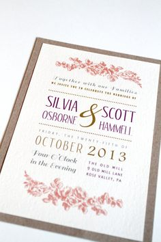 Vintage Style Floral Vine Fun Fonts Invitation by GoldenSilhouette, $3.90