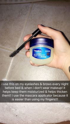 Beauty skin care - Use Vaseline to help thicken & moisturize eyebrows & eyelashes! Lana Steele Steele'sBeauty Beauty skin care - Use Vaseline to help thicken & moisturize eyebrows & eyelashes! BeautyHacksForS Use Vaseline to Skin Tips, Skin Care Tips, Beauty Care, Beauty Skin, Diy Beauty, Homemade Beauty, Beauty Ideas, Face Beauty, Fashion Beauty
